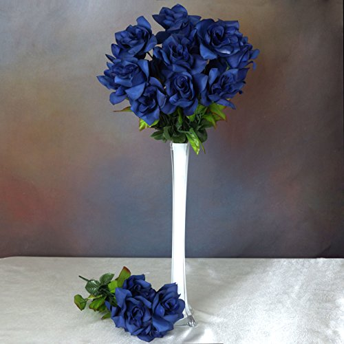 Efavormart 168 Open Velvet Roses for DIY Wedding Bouquets Centerpieces Arrangements Party Home Decorations Wholesale - Navy Blue