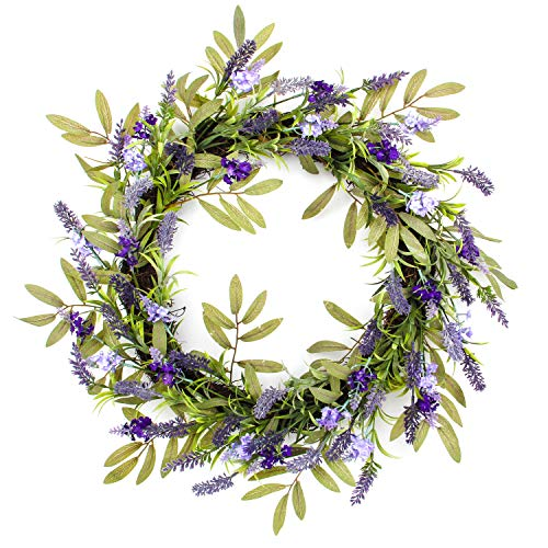 Jusdreen 20 Inch Artificial Lavender Front Door Wreath with Green Leaf Spring Garland Home Décor for Window Wall Party Wedding Hanging Decorations
