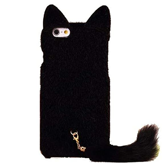 best website ea39e afd26 DierCosy iPhone 6 Case Fashion Cute 3D Cat Shaped Ear Fluffy Plush Fur Soft  TPU Case with Soft Tail for iPhone 6 6G 4.7 inch (Black)
