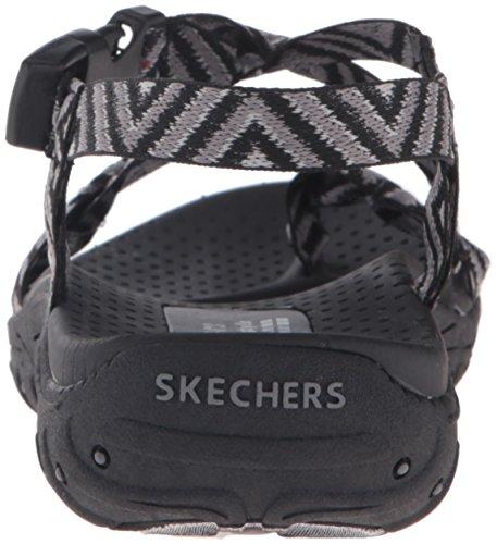 Skechers Reggae del dedo del pie del anillo de la sandalia Black Gray