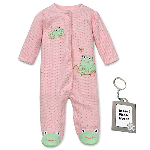 Sleeper Girls Frog Footed (Little Me Adorable Animal Feet Footed Sleeper and Keychain Pink Frog Newborn)