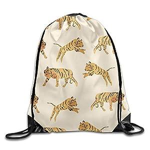 Tiger Pattern Womens Lightweight Drawstring Backpack Gymbag Gymsack String Sackpack Knapsack For Outdoor