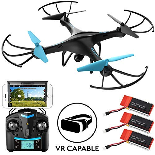 Radio Controlled Black Helicopter (Drones with Camera for Adults or Kids - U45WF WiFi FPV Live Video VR Drones for Beginners, RC Remote Control Helicopter Quadcopter Toy w/ 3 Batteries)
