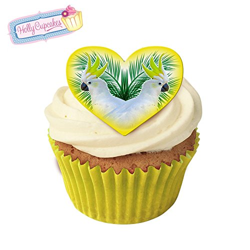 Cockatoo Tropical Kitsch! 12 Edible cockatoo design heart cake decorations, plus a FREE GIFT of 12 smaller yellow star (Tropical Cockatoo)