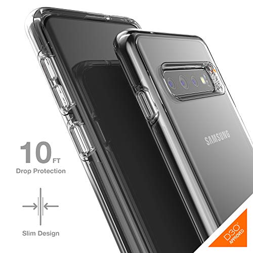 Gear4 Crystal Palace Clear Case with Advanced Impact Protection [ Protected by D3O ], Slim, Tough Design for Samsung Galaxy S10 – Clear