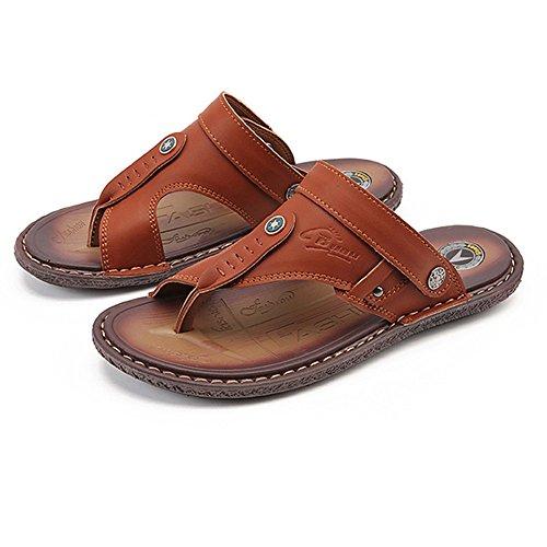 Sommer Rutschfeste Flip Flops Mode Doppel-Sandalen im Freien Einzel Männer Sandalen, Braun, UK = 6, EU = 39