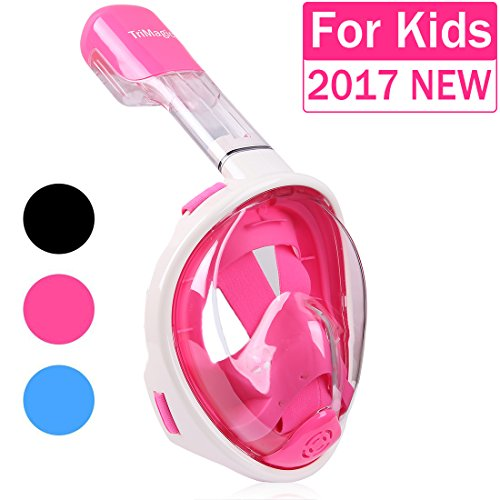 Snorkel Mask  Trimagic 180  Panoramic Full Face Design With Larger Viewing Area   Easier Breathing And Gopro Compatible With Anti Fog And Anti Leak  2017 New Version