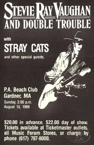 Stevie Ray Vaughan 1989 Concert Poster W/Stray Cats from Right Brain/Left Brain