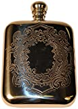 Budd Leather Pewter Richmond Victorian Flask, 6-Ounce, Silver