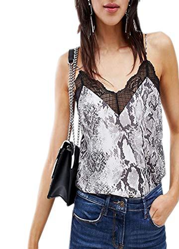 Tynora Women Sexy V-Neck Lace Up Camisole Vest Tank Top Blouse(Snakeskin L)