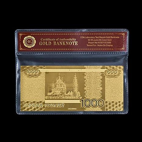 Monedero de Papel Chapado en Oro de 24 K 999.9 con 1000 ...