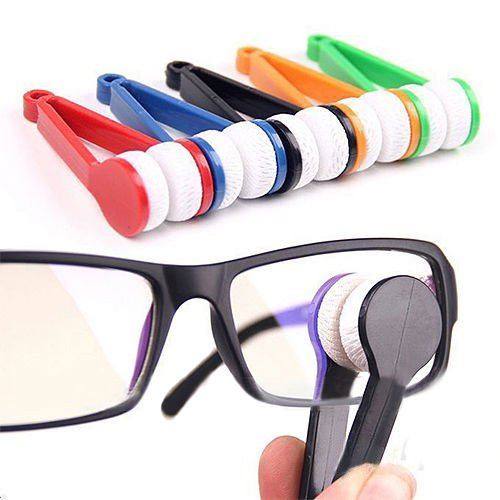 KANG--Style Mini Portable Glasses Eyeglass Sunglasses Microfiber Cleaner Brush - Sunglasses Marines O