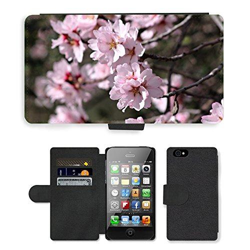 Just Phone Cases PU Leather Flip Custodia Protettiva Case Cover per // M00128228 Almond Tree fleur de l'amandier // Apple iPhone 4 4S 4G