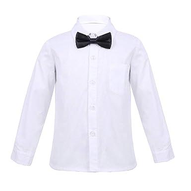 502819994b7ea Freebily Unisexe Uniforme Scolaire Enfants Fille Garçon T-Shirt Blanc à Manches  Longues + Cravate