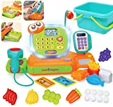 JOYIN Cash Register Pretend Play Cashier with Smart Scanner, Microphone, Play Money and Grocery Toy for Kid Boys and Girls, Toddler Interactive Learning, Educational, and Classroom Prize.