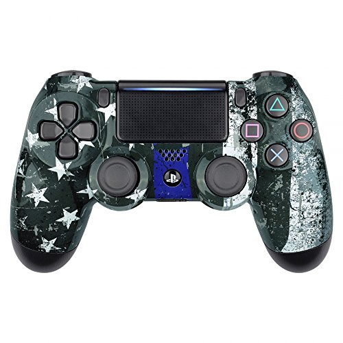 eXtremeRate The Thin Blue Line Flag of USA Hydro Dipped Front Housing Shell Case, Faceplate Cover Replacement Kit for Playstation 4 PS4 Slim PS4 Pro Controller (CUH-ZCT2 JDM-040 JDM-050 JDM-055)