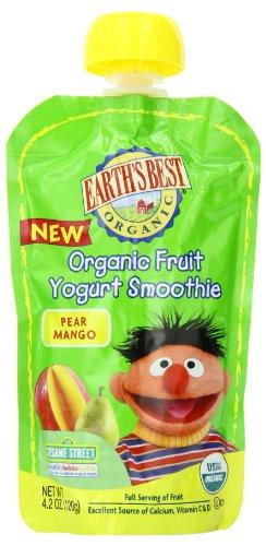 Земли Лучший органических фруктовый йогурт Smoothie, груши и манго, 4,2 унции Чехол (в упаковке 12)