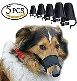 Avivnor 1SET of 5PCS Adjustable Breathable Secure Small Medium Large Extra Dog Muzzle,Black
