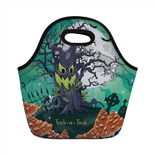 - Neoprene Lunch Bag,Halloween Decorations,Trick or Treat Dead Forest with Spooky Tree Graves Big Kids Cartoon Art,Multi,for Kids Adult Thermal Insulated Tote Bags