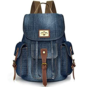 Denim School Backpack for Teen Girls Cute Small Jeans Bag