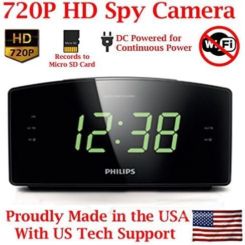 HD 720P Covert Alarm Clock Radio Spy Camera Hidden Nanny Camera Spy Gadget SD Card Model NO WI-FI