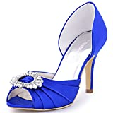 ElegantPark A2136 Women High Heel Pumps Peep Toe Brooch Ruched Satin Evening Prom Wedding Shoes Royal Blue US 10