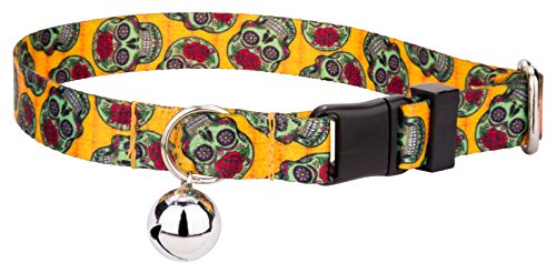 Country Brook Petz Sugar Skulls Featherweight Cat (Halloween Cat Collar)