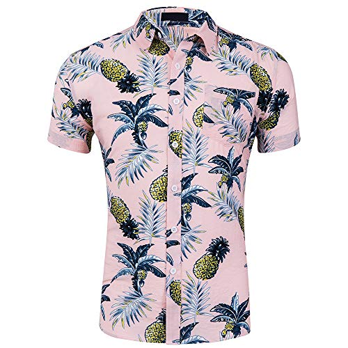 CATERTO Men's Short Sleeve Standard-Fit 100% Cotton Button Down Casual Pineapple Hawaiian Shirt Pink XL