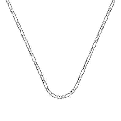 925 Sterling Silver Rhodium Finish Sparkle-Cut Figaro Chain Necklace in Silver Choice of Lengths 16 18 20 24 22 30 and Variety of mm Options