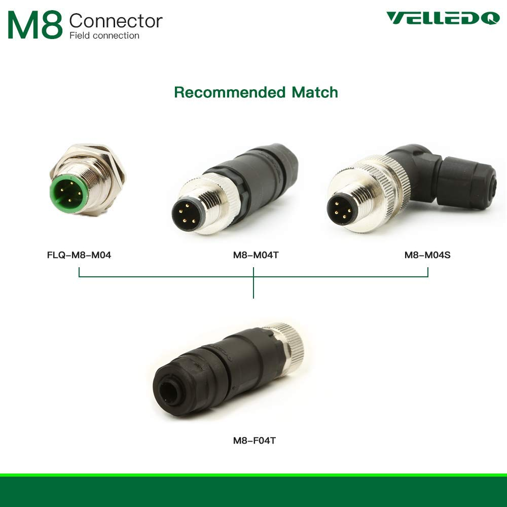 VELLEDQ Field Assembly M8 Panel Mount Connector 3-Pin Male A-Coding IP67 Front Fastened Flange Plug with 3 Feet 24AWG Cable Wire