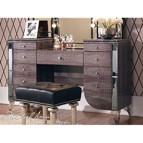 Aico Hollywood Swank Vanity In Amazing Gator Vinyl By Michael Amini (Does  Not Include Mirror U0026 Bench)