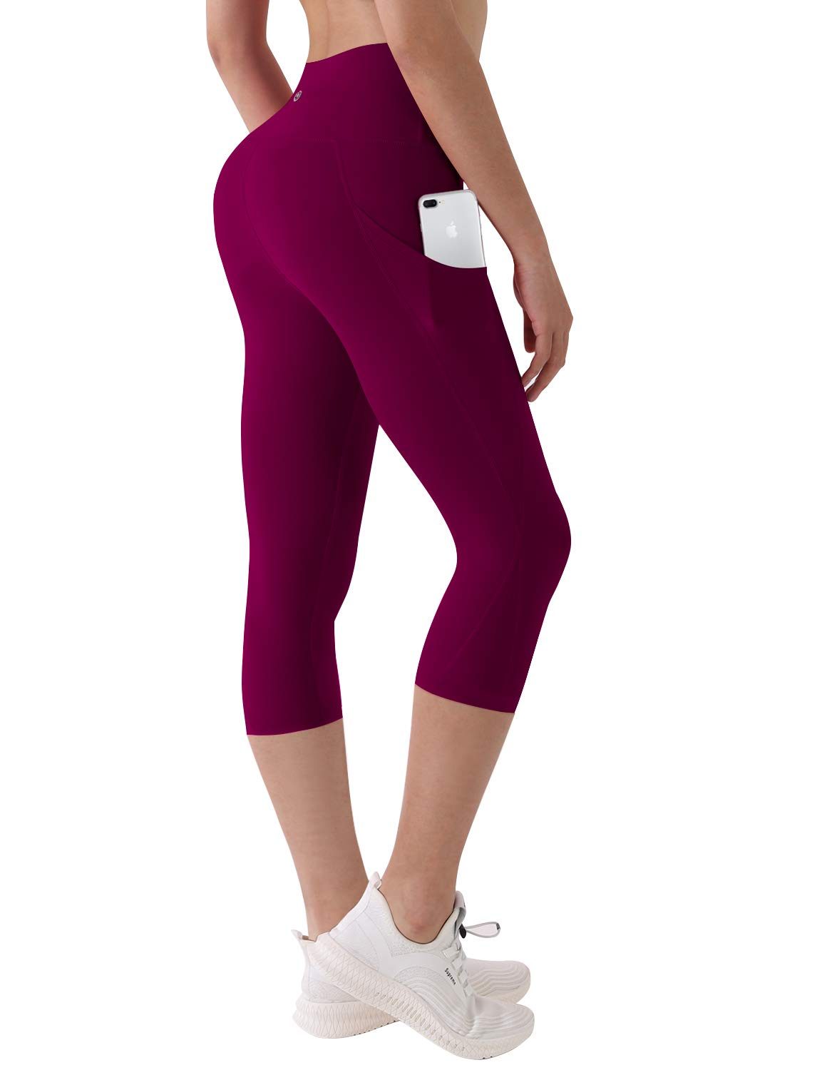 BUBBLELIME High Compression Yoga Capris Out Pocket Running Capris High Waist UPF30+ Non See-Through Fabric
