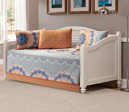 (Linen Plus 5pc Daybed Cover Set Quilted Bedspread Floral Orange Blue Coastal Plain/Gray Green New)