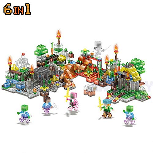 Best Quality hot minecrafted Action Figures Toys Crystal Garden Steve Zombie Alex Witch Zombie Skeleton Compatible legoinglys Blocks 6in1