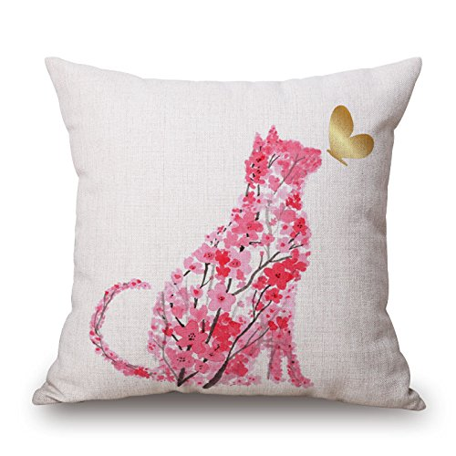 Elliot_yew Beautiful Watercolor Pink Floral Animals Print Cotton Linen Decorative Throw Pillow Case Cushion Cover Square 18