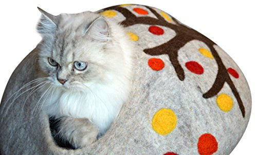Best Cat Cave Bed, Unique Handmade Natural Felted Merino Wool, Large Covered and Cozy, Also Perfect for Kittens, Includes Bonus Catnip, Original Cat C…