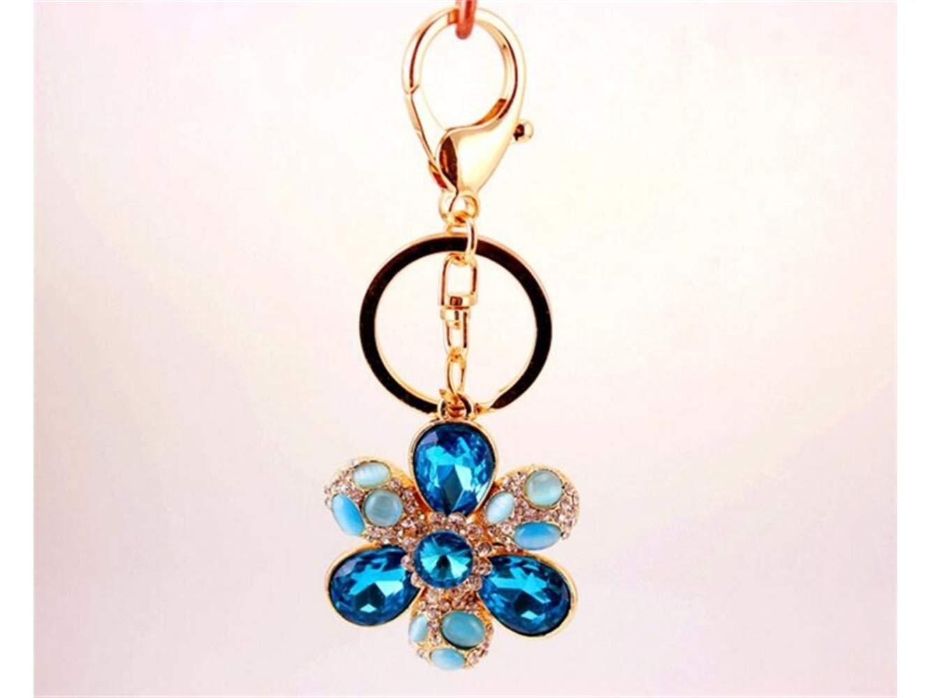 Gelaiken Novelty Diamond Opal Six-Petal Flower Keyring Crystal Keychain Charms Bag Purse Phone Pendant for Women Girls_Blue