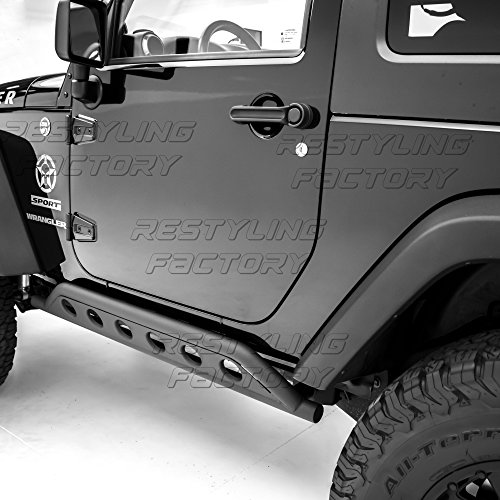 Restyling Factory -Black Textured Body Side Armor Rocker Guard Rock Sliders 2 Door Tube for 07-18 Jeep Wrangler JK 2 Door ONLY