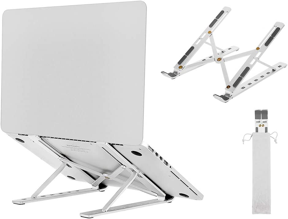 iHopeNu Laptop Stand Lightweight Portable Foldable 7-Angles Adjustable Height Multifunctional Aluminum Stand for Laptop,Cell Phone,Pad,Reading