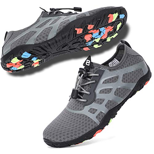(hiitave Swim Water Shoes for Men, Sneakers for Beach, Boating, Paddle Sport & Outdoor Gray W13/M12)
