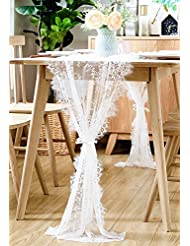 BOXAN 30x120 Inch White Classy Lace Table Runner/Overlay With Rose Vintage  Embroidered, Rustic