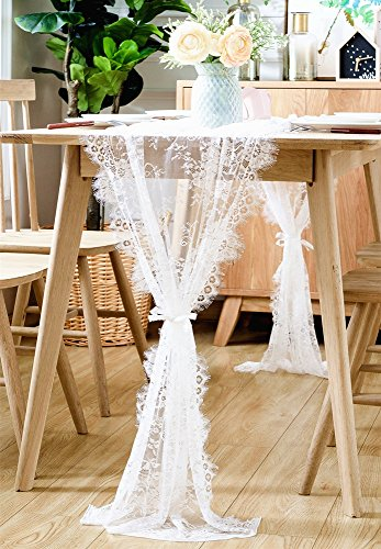 BOXAN 30x120 Inch White Classy Lace Table Runner/Overlay with Rose Vintage Embroidered, Rustic Boho Wedding Reception Table Decor, Fall Thanksgiving Christmas Baby & Bridal Shower Party Decoration (White Lace Table Runner)