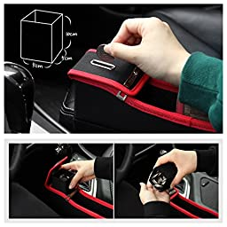 KMMOTORS Coin Side Pocket, Console Side Pocket, Car Organizer(Red without Cupholder)
