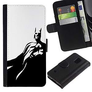 All Phone Most Case / Oferta Especial Cáscara Funda de cuero Monedero Cubierta de proteccion Caso / Wallet Case for Samsung Galaxy S5 V SM-G900 // Black White Flying Mask