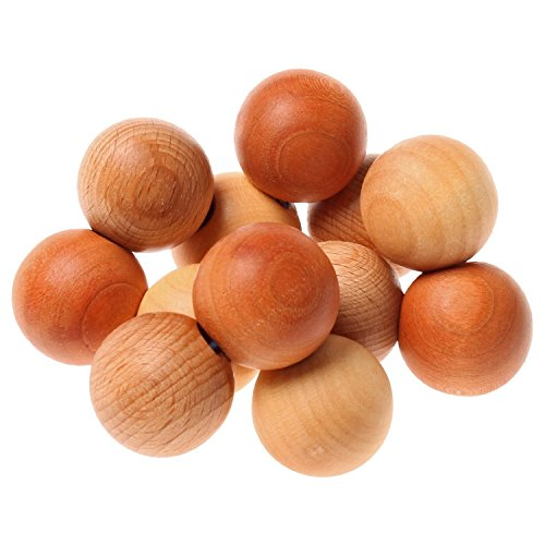Grimm's Beads Grasper - Wooden Baby Rattle Toy with Large Balls in Natural Wood Colors, Handmade in Germany