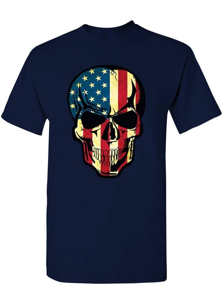 S Beat Up American Flag Skull T Shirts