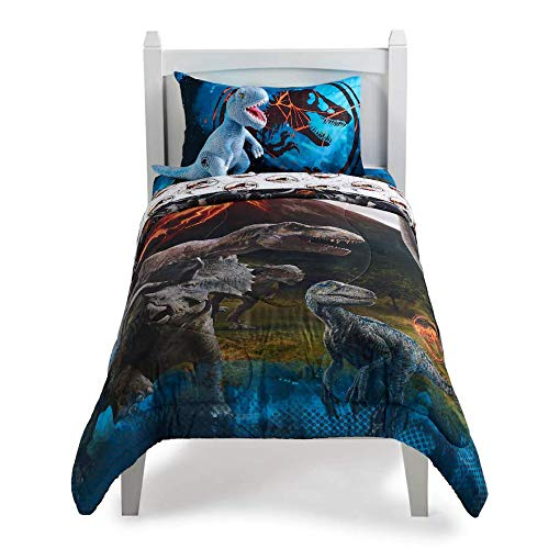 Franco Jurassic World Predator Run Full/Twin Comforter with 4 Piece Full Sheet Set Collection