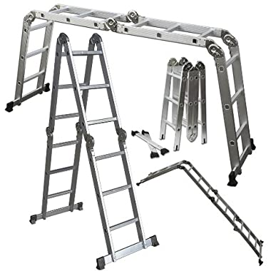 OxGord® Heavy Duty Aluminum Folding Scaffold Work Ladder 12.5 ft Multi-Fold Step Light Weight Multi-Purpose extension - 350 LB Capacity