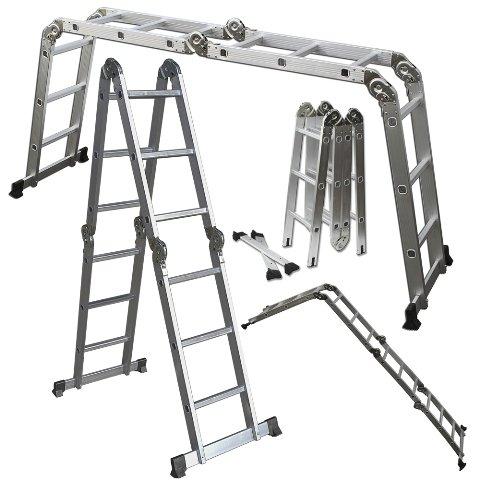 OxGord¨ Heavy Duty Aluminum Folding Scaffold Work Ladder 12.5 ft Multi-Fold Step Light Weight Multi-Purpose extension