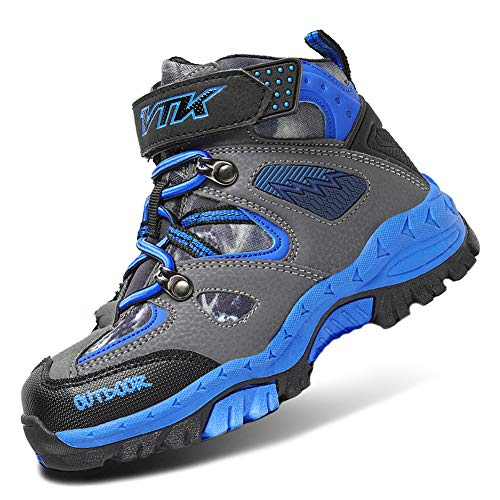 Boots Kids Hiking Shoes Boys Girls Waterproof Hiker Boot Hiking Shoes for Girls Sneakers Outdoor Walking Climbing Antiskid Steel Buckle Sole Waterproof Blue Size 13 (Girls Footwear For Boots)
